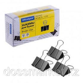 Зажимы для бумаг OfficeSpace, 25 мм, 12 шт., черные