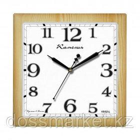 """Часы квадратные Камелия """"Сосна светлая"""", d=29 см, светло-коричневые, пластиковые, минеральное стекло"""