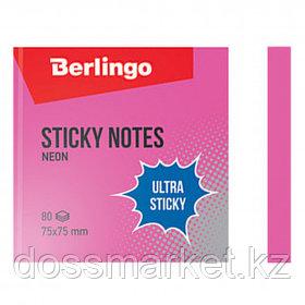 """Блок самоклеящийся 75*75 мм, Berlingo """"Ultra Sticky"""" НЕОН, розовый, 80 листов"""