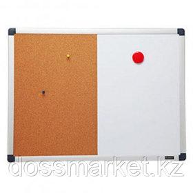 Доска магнитно-маркерная/пробковая Comix BM4560V, размер 45*60 см, с полочкой для аксессуаров