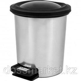 Ведро-контейнер для мусора Svip, 6 л, с педалью, круглое, металл, серое