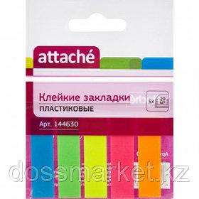 Закладки самоклеящиеся Attache, пластиковые, 45*12 мм, 5 цветов НЕОН, 100 листов