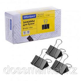 Зажимы для бумаг OfficeSpace, 32 мм, 12 шт., черные