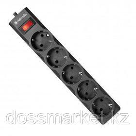 Сетевой фильтр Defender ES 3.0, 5 розеток, 3 м, черный