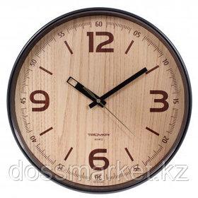 Часы круглые Troyka, d=30,5 см, коричневые, пластиковые, минеральное стекло