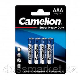 Батарейки Camelion Super Heavy Duty мизинчиковые AAA R03P-BP4B, 1.5V, 4 шт./уп, цена за упаковку