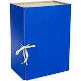 Архивный короб OfficeSpace, 150*240*320 мм, вместимость 1400 листов, с завязками, сплошной, синий, фото 2