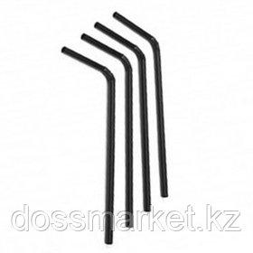 Трубочки для напитков, с изгибом, длина 26 см, диаметр 6 мм, черные, 100 шт./уп