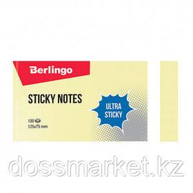 "Блок самоклеящийся 125*75 мм, Berlingo ""Ultra Sticky"", желтый, 100 листов"