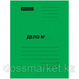 """Папка-скоросшиватель OfficeSpace """"Дело"""", картон мелованный, А4 формат, 300 гр, зеленая"""