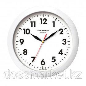 Часы круглые Troyka, d=29 см, белые, пластиковые, минеральное стекло