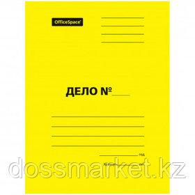 """Папка-скоросшиватель OfficeSpace """"Дело"""", картон мелованный, А4 формат, 300 гр, желтая"""