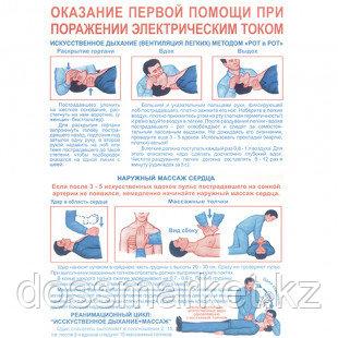"""Плакат по ТБ """"Оказание первой помощи при поражении электрическим током"""", размер 400*600 мм"""