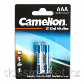 Батарейки Camelion Digi Alkaline мизинчиковые AAA LR03-BP2DG, 1.5V, 2 шт./уп, цена за упаковку