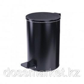 Ведро-контейнер для мусора Титан, 20 л, с педалью, круглое, металл, черное