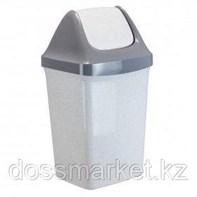 """Ведро-контейнер для мусора Idea """"Свинг"""", 25 л, качающаяся крышка, пластик, мраморный"""