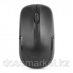 Мышь беспроводная Delux DLM-136OGB, USB, 3 кнопки, 1200 dpi, оптическая, черная