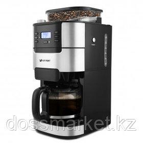 Кофемашина Kitfort KT-720, зерновой и молотый, черная