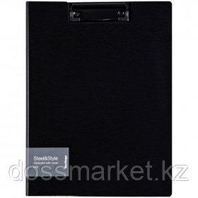 """Папка-планшет Berlingo """"Steel&Style"""", А4, с верхним прижимом и крышкой, черная"""
