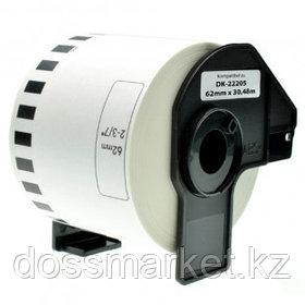 Лента бумажная цельная Brother DK22205, ширина 62 мм, длина 30,48 м, белая