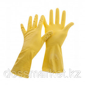 Перчатки для уборки OfficeClean Стандарт+, 1 пара, супер прочные, размер L, латекс, желтые