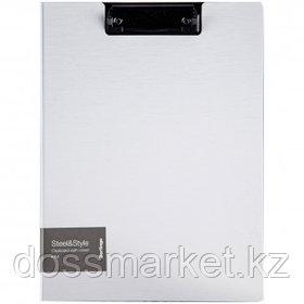 """Папка-планшет Berlingo """"Steel&Style"""", А4, с верхним прижимом и крышкой, белая"""