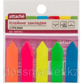 Закладки самоклеящиеся Attache, пластиковые, 44*12 мм, 5 цветов НЕОН, 100 листов, стрелки
