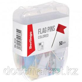 Кнопки силовые/флажки канцелярские Berlingo, пластиковые, цветные, 50 шт,/уп