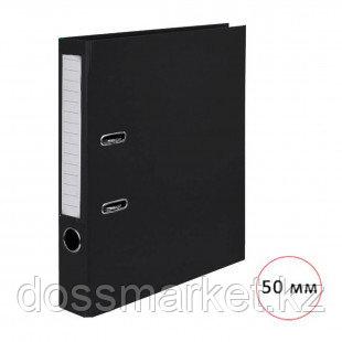 "Папка-регистратор Deluxe ""Office"", А4, ширина корешка 50 мм, черная, двусторонняя"