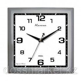 """Часы квадратные Камелия """"Серебро 2"""", d=29 см, серебристые, пластиковые, минеральное стекло"""
