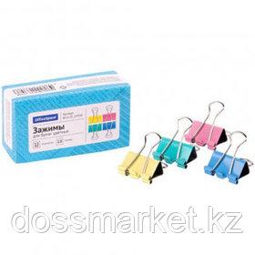 Зажимы для бумаг OfficeSpace, 25 мм, 12 шт., цветные