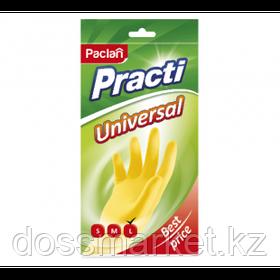 """Перчатки для уборки Paclan """"Universal"""", 1 пара, универсальные с х/б напылением, размер L, желтые"""