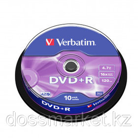 Диск DVD+R Verbatim, 4.7 GB, 16х, 10 шт/упак