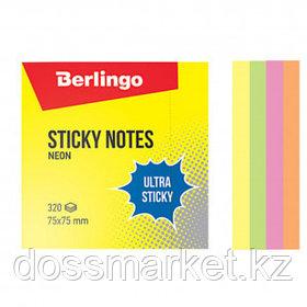 """Блок самоклеящийся 75*75 мм, Berlingo """"Ultra Sticky"""", 4 неоновых цвета, 320 листов"""