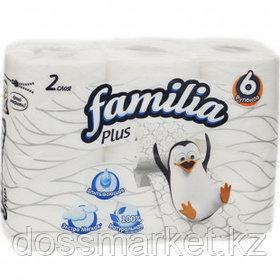 Туалетная бумага рулонная Familia Plus, 18 метров, 2-х слойная, 6 рулонов