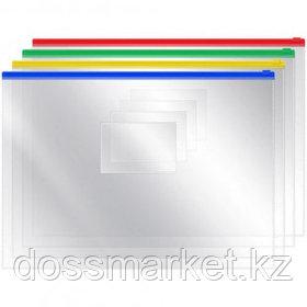 Папка-конверт OfficeSpace, А4 формат, 120 мкм, Zip-Lock, прозрачная