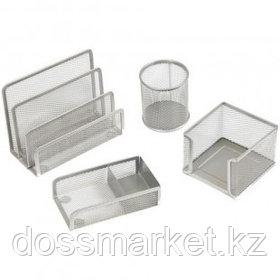 """Набор настольный Berlingo """"Steel&Style"""", 4 предмета, металлический, сетчатый, серебристый"""