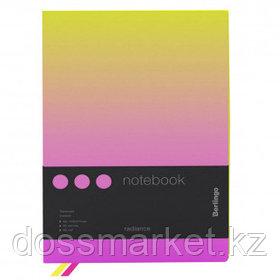 """Записная книжка Berlingo """"Radiance"""", А5, 80 листов, черный срез, в клетку, желтый/розовый"""