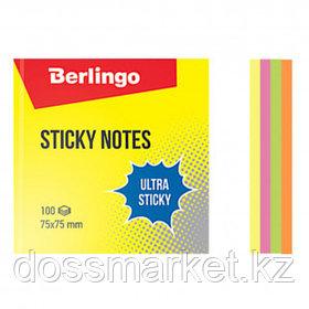 """Блок самоклеящийся 75*75 мм, Berlingo """"Ultra Sticky"""", 4 неоновых цвета, 100 листов"""