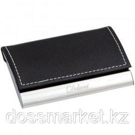 Визитница карманная Delucci на 20 визиток, алюминий, искусственная кожа