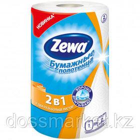 Полотенце бумажное Zewa 2 в 1, 2-х слойные, 1 рулон в упаковке, 28 м, белое