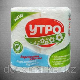 Туалетная бумага рулонная Утро, 17 метров, 2-слойная, 4 шт/упак, белая