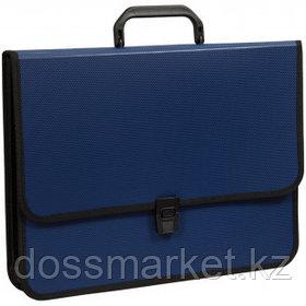 Папка-портфель OfficeSpace, А4+ формата, 2 отделения, на замке, синий