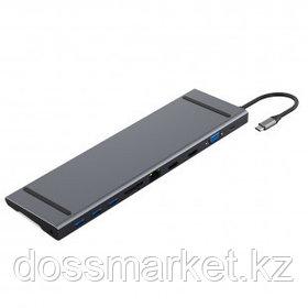 Мультифункциональный адаптер X-Game XGH-1101, HDMI, VGA, RJ-45, SD, TF, USB Type-C, серый