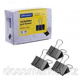 Зажимы для бумаг OfficeSpace, 41 мм, 12 шт., черные