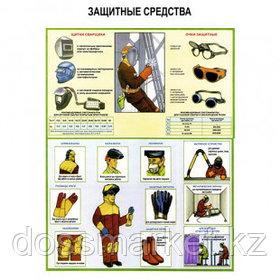 "Плакат по ТБ ""Защитные средства"", размер 400*600 мм"
