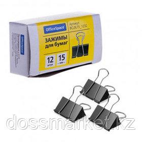 Зажимы для бумаг OfficeSpace, 15 мм, 12 шт., черные