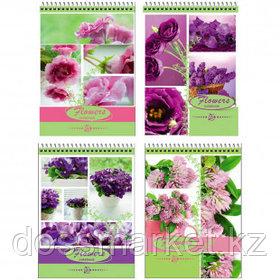 """Блокнот BG """"Flowers notebook"""", А5, 40 листов, на гребне, в клетку"""