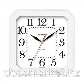 Часы квадратные Troyka, d=29 см, белые, пластиковые, минеральное стекло