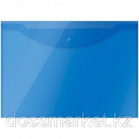 Папка-конверт с кнопкой OfficeSpace, А3, 150 мкм, до 100 листов, полупрозрачная, синяя